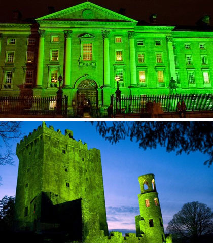 Greening the City: Trinity College and Blarney Castle illuminated bright emerald at night and at sunset, respectively